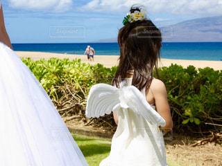 海,花,ワンピース,女の子,ハワイ,ホワイト,プルメリア,ウェディング