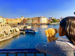 港に座っている人々 のグループの写真・画像素材[1102390]