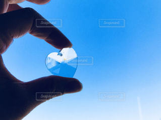 青空,ガラス,指,ハート,ブルー,スワロフスキー,クリスタル