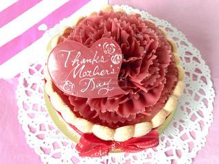 紙皿のピンクのケーキの写真・画像素材[1197546]
