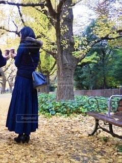 公園のベンチに座っている人の写真・画像素材[3943826]