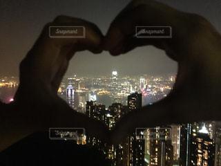夜景,ハート,香港,100万ドルの夜景,♡,ジェスチャー