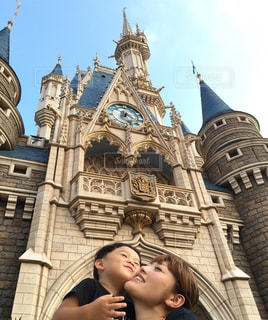 子ども,親子,キス,夏休み,ディズニー,シンデレラ城,Disney,ママと子ども,モープン