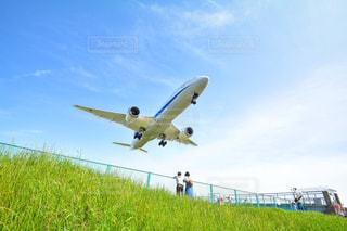 青い空を飛ぶ大型旅客機の写真・画像素材[1219185]