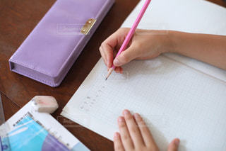 勉強の秋 算数の宿題をする小学生の写真・画像素材[2489521]