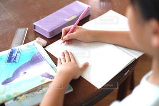 勉強の秋 算数の宿題をする小学生の写真・画像素材[2489526]