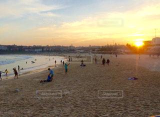 海,夕日,ビーチ,夕焼け,海岸,サンセット,シドニー,ボンダイビーチ