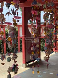 神社,赤,ハート,可愛い,飾り