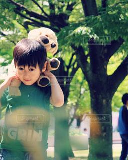 木の隣に立っている少年の写真・画像素材[1261189]