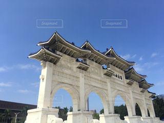 空,建物,屋外,青空,アジア,門,アーチ,台湾,中華,石,台北,海外旅行,記念堂
