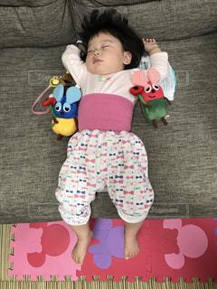 テディベアを保持している小さな女の子の写真・画像素材[1230849]