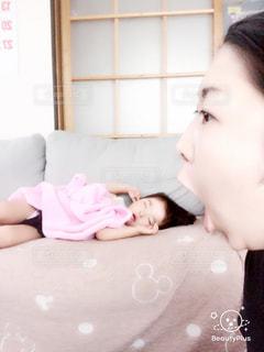 親子,昼寝,可愛い,遠近法,長女,3歳,親バカ,女同士,Beautyplus,ママと子供,食べちゃうよー