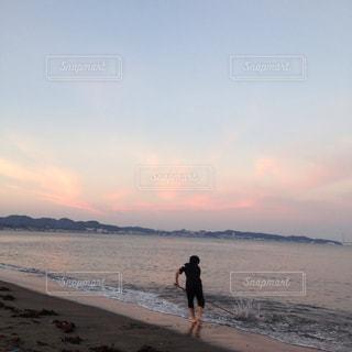 海,空,夕日,夕暮れ
