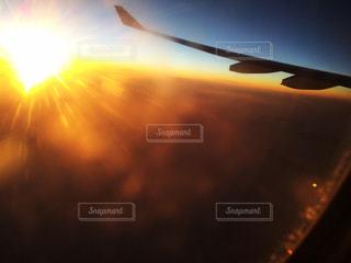 自然,空,夕日,屋外,camera,飛行機からの夕日