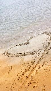 海,夏,砂浜,波,ハート,浜辺,デート,マーク,砂に書いたラブレター