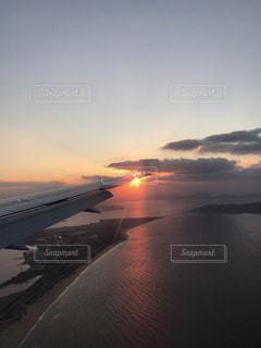 海,空,夕日,飛行機,景色