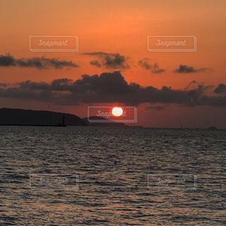自然,海,夕日,屋外,景色