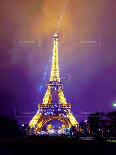 夜,屋外,暗い,景色,観光,建造物,旅行,フランス,エッフェル塔,シャンパンタワー,点灯
