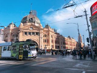 屋外,海外,駅,景色,観光,建造物,交差点,オーストラリア,明るい,メルボルン,トラム