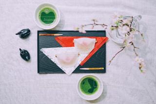 春,桜,和菓子,サクラ,おやつ,リラックス,テーブルフォト,緑茶,日本茶,teatime,煎茶,花びら餅