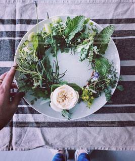食品のプレートをテーブルに着席した人の写真・画像素材[1205235]