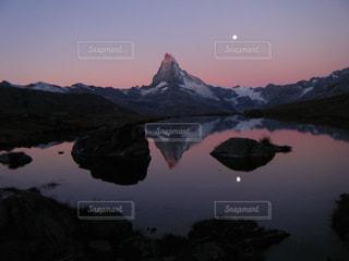 海外,山,朝焼け,月,スイス,海外旅行