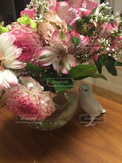 花と小鳥の写真・画像素材[722316]