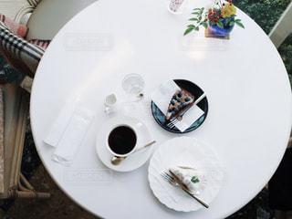 カフェ,ケーキ,コーヒー,白,テーブル