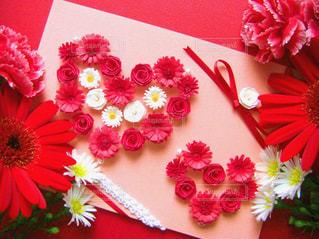 花,赤,ハート,ペーパークラフト