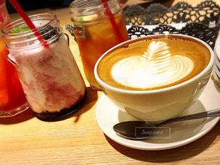 カフェ,可愛い,ラテアート,ドリンク,ミルクティー色