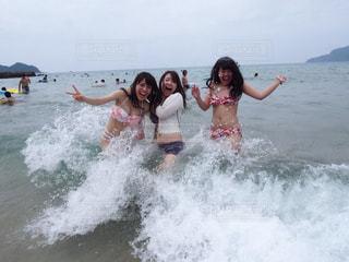 女性,海,夏,太陽,波,水着,茂串