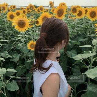 花の前に立っている女性 - No.768539