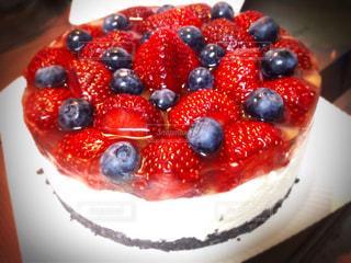 ケーキ,フルーツ,ブルーベリー,キラキラ,手作り,レアチーズケーキ,イチゴ