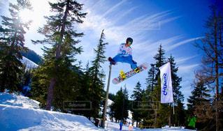 雪の上に空気を通って飛んで男覆われたツリーの写真・画像素材[813766]