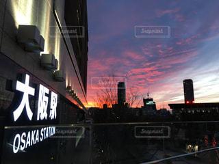 空,夕日,大阪駅