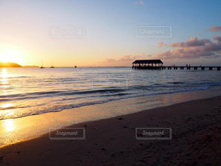海,空,夕日,桟橋,Hawaii,サンセット