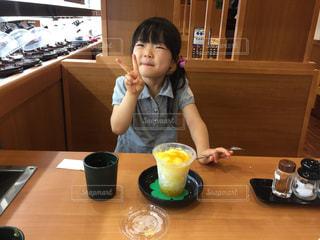 女,子供,かき氷,吉田川