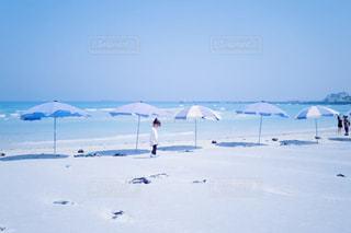 済州島の挟才海水浴場で撮影した海辺のパラソルと砂浜の写真・画像素材[1313996]