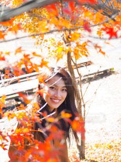木の隣に立っている女性 - No.858341