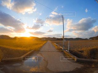 風景,空,夕日,夕焼け,田舎,田んぼ