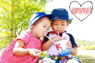 自然,夏,木,子供,ハート,食べる,幼児,かき氷,summer,カキ氷,飲む