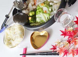 秋,紅葉,食卓,うどん,野菜,ハート,鍋,寒い,手作り,家庭,家庭の味,おたま,鍋うどん