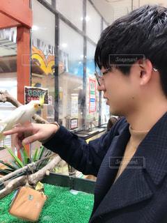 男性,鳥,男,男子,横顔,癒し,可愛い,動物園,生き物,ふれあい,滋賀県