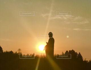 大仏様と夕陽の写真・画像素材[968396]