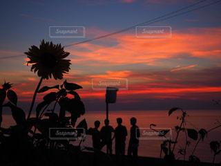 日没の前に立っている人々 のグループ - No.957986