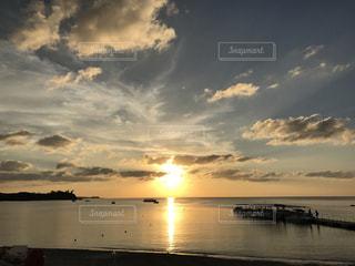 自然,空,夕暮れ,水面,沖縄,夕陽,地平線