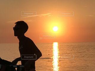 海岸,沖縄,夕陽,地平線