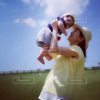 空,屋外,青空,子供,人物,人,ママ