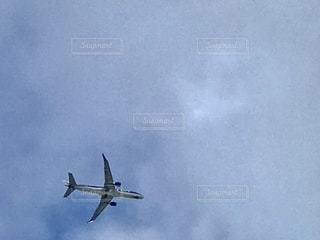 曇った青空を飛んでいる大きな旅客機の写真・画像素材[2794033]