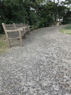 3つ並んだ木製ベンチの写真・画像素材[2873151]